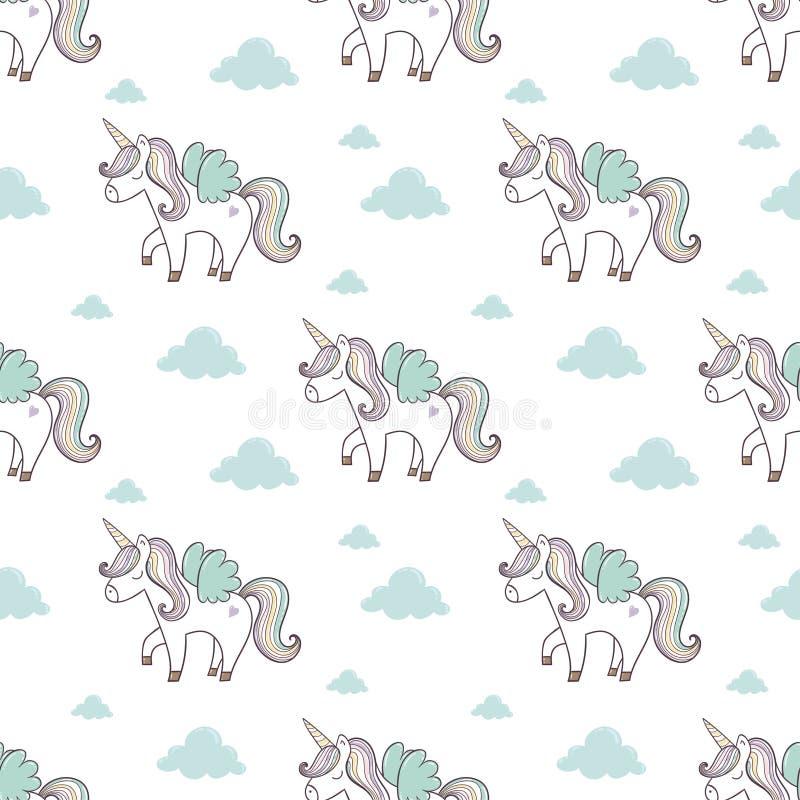 Modello con l'unicorno sveglio illustrazione di stock