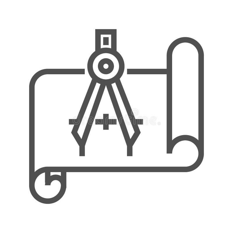 Modello con la bussola illustrazione di stock
