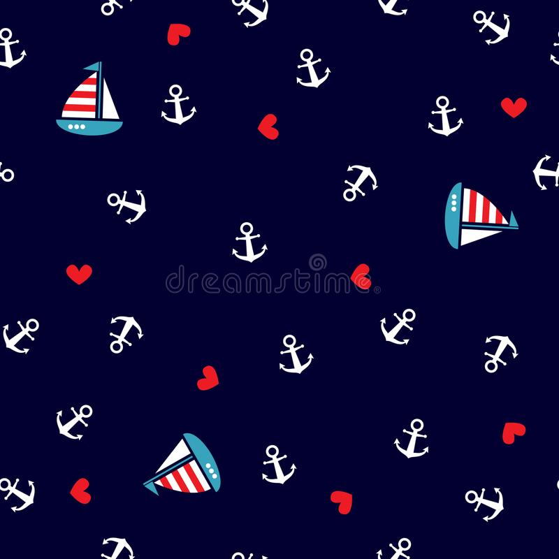 Modello con le ancore e la barca a vela royalty illustrazione gratis