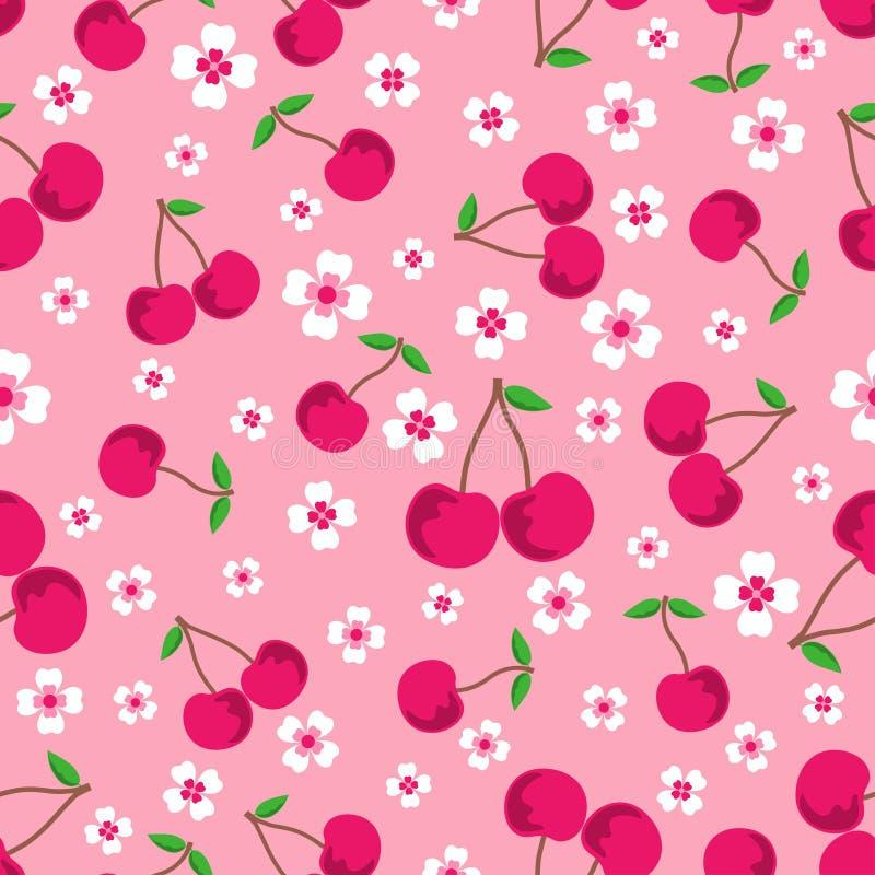 Modello con le ciliege ed i fiori illustrazione vettoriale