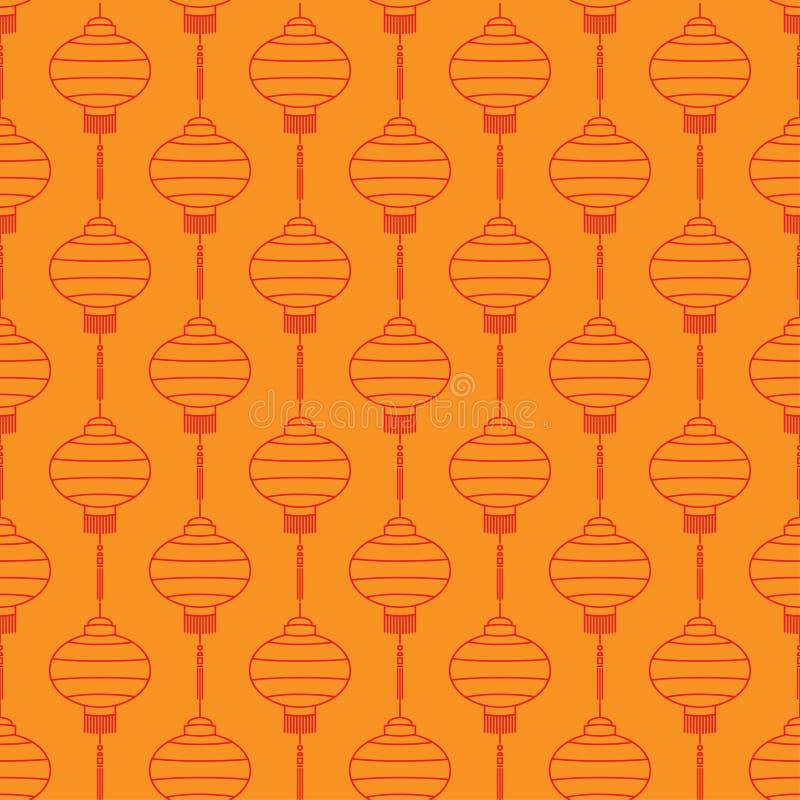Modello con le lanterne cinesi rosse illustrazione di stock