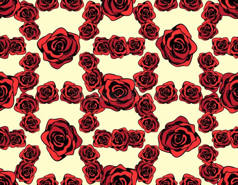 Modello con le rose rosse su un fondo giallo immagini stock