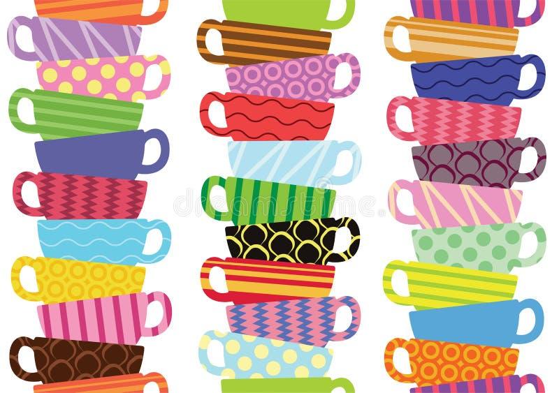 Modello con le tazze di tè variopinte illustrazione vettoriale