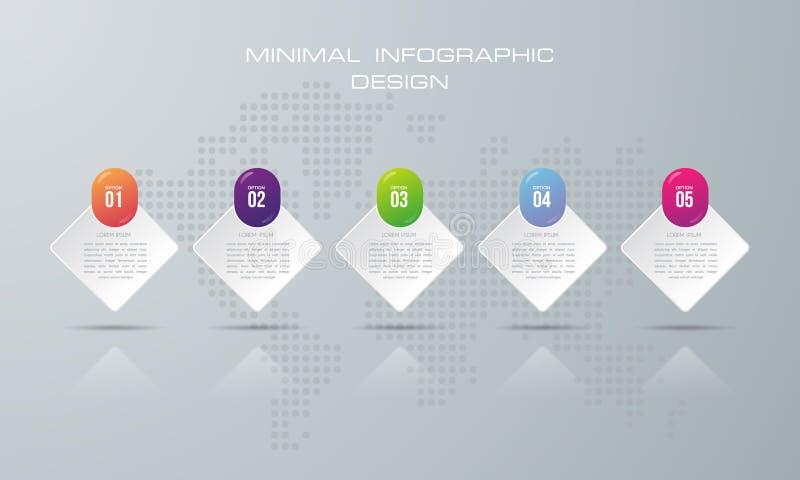 Modello con 5 opzioni, opzione di Infographic dell'insegna per infographic illustrazione vettoriale