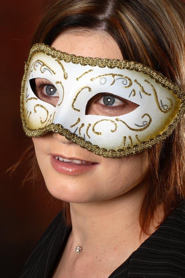 Modello con una mascherina fotografia stock