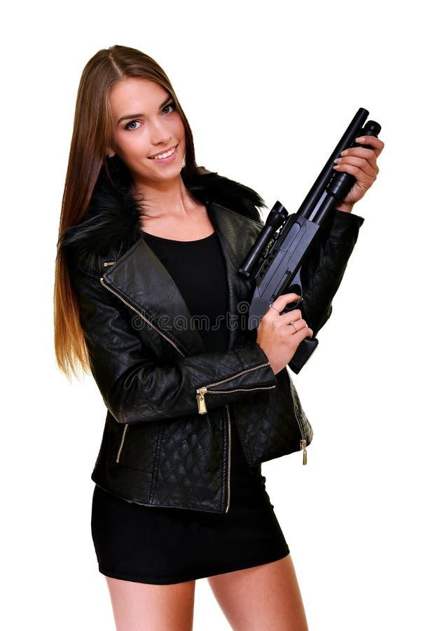 Modello con una pistola immagini stock libere da diritti