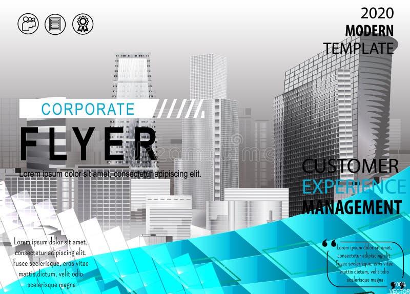 Modello corporativo di progettazione della copertura dell'aletta di filatoio del fondo della città in A4 illustrazione di stock