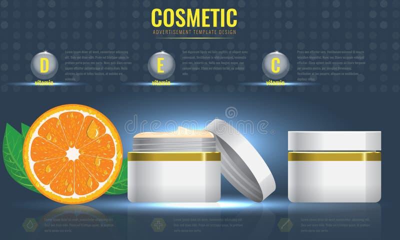 Modello cosmetico degli annunci con l'arancia e l'effetto scintillante illustrazione di stock