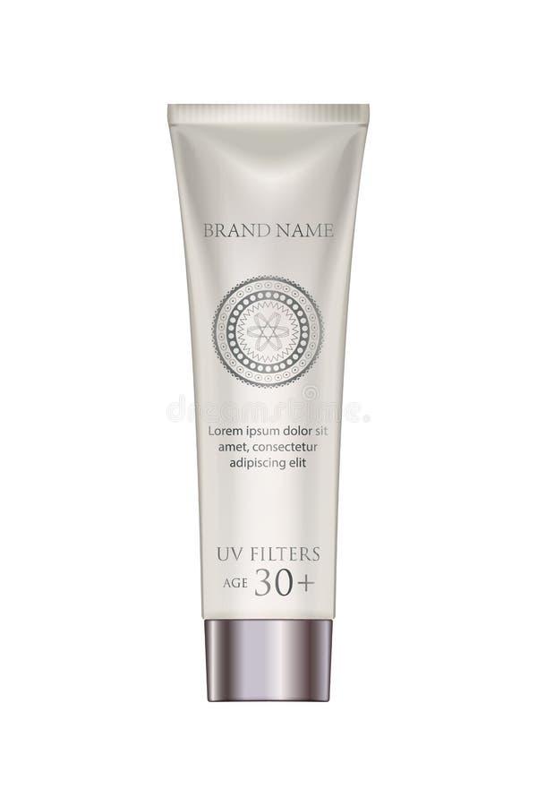 Modello cosmetico della crema del tubo in perla Metropolitana di plastica bianca Packagin royalty illustrazione gratis