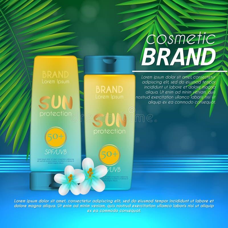 Modello cosmetico di progettazione del sunblock di estate su fondo blu astratto con le foglie di palma esotiche Protezione e suns illustrazione di stock