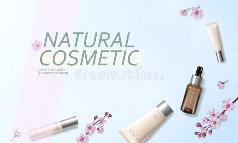 Modello cosmetico organico dell'annuncio del fiore di ciliegia Dettagliato realistico rosa del fiore 3D della molla della crema d royalty illustrazione gratis