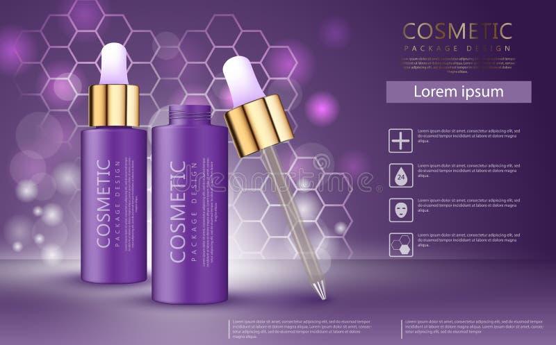 Modello cosmetico realistico di progettazione 3d Modello degli annunci dell'olio dell'aroma, bottiglia dell'essenza illustrazione vettoriale