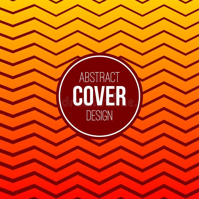 Modello creativo astratto della disposizione di concetto Copertura astratta moderna dalle linee arancio luminose di zigzag, bande illustrazione di stock