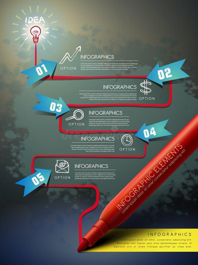 Modello creativo con il diagramma di flusso del disegno a penna del segno infographic illustrazione di stock