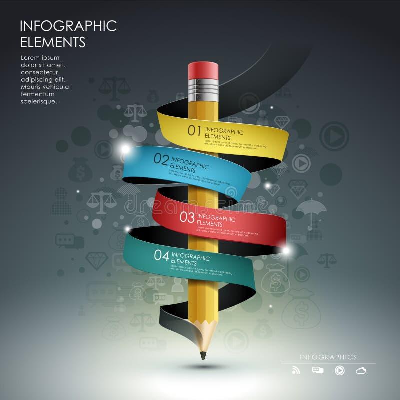 Modello creativo con il diagramma di flusso dell'insegna del nastro della matita illustrazione vettoriale