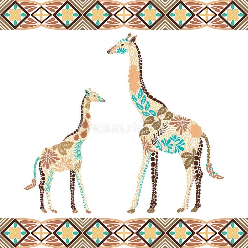 Modello creativo della giraffa fatto dai fiori, foglie nello stile della Boemia fotografie stock