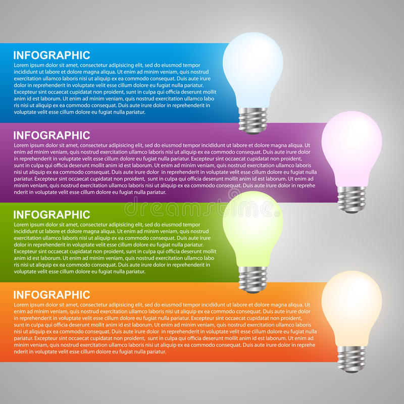 Modello creativo di progettazione di infographics della lampadina 3D illustrazione di stock