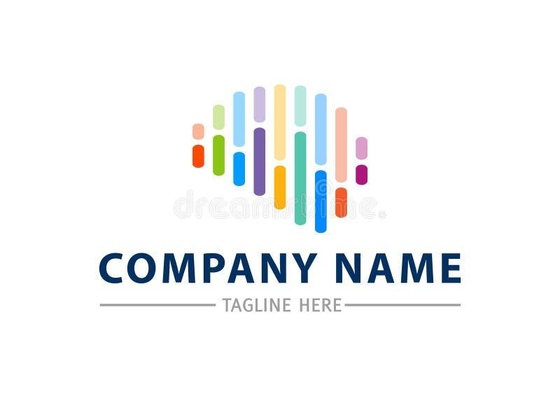 Modello creativo di progettazione di logo di vettore dell'estratto del cervello Braintech illustrazione di stock