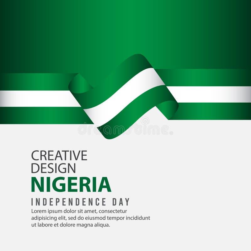 Modello creativo di vettore dell'illustrazione di progettazione di celebrazione di festa dell'indipendenza della Nigeria illustrazione di stock