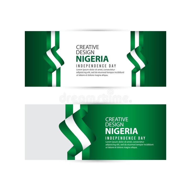Modello creativo di vettore dell'illustrazione di progettazione di celebrazione di festa dell'indipendenza della Nigeria royalty illustrazione gratis