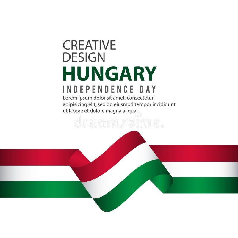 Modello creativo di vettore dell'illustrazione di progettazione di celebrazione di festa dell'indipendenza dell'Ungheria illustrazione di stock