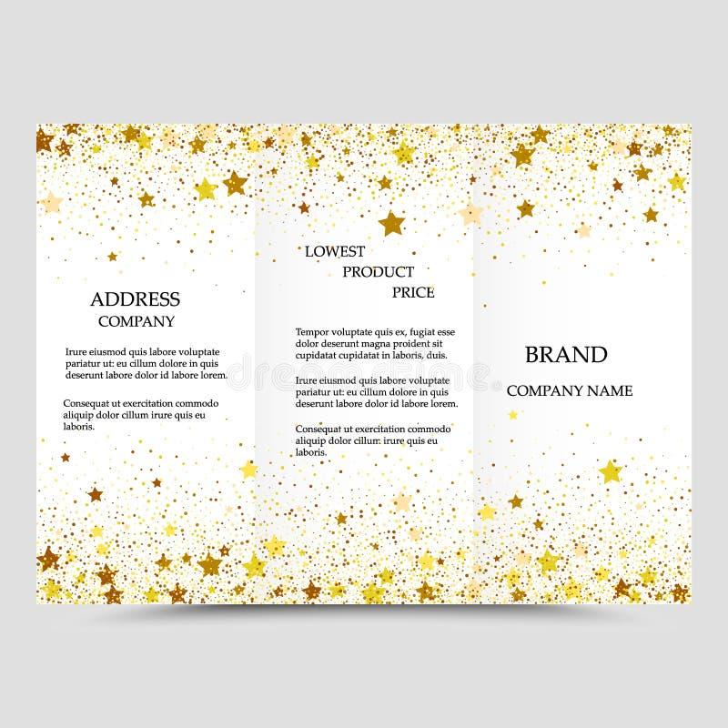 Modello creativo moderno dell'opuscolo di affari di tre volte con scintillio dell'oro su un fondo bianco illustrazione di stock