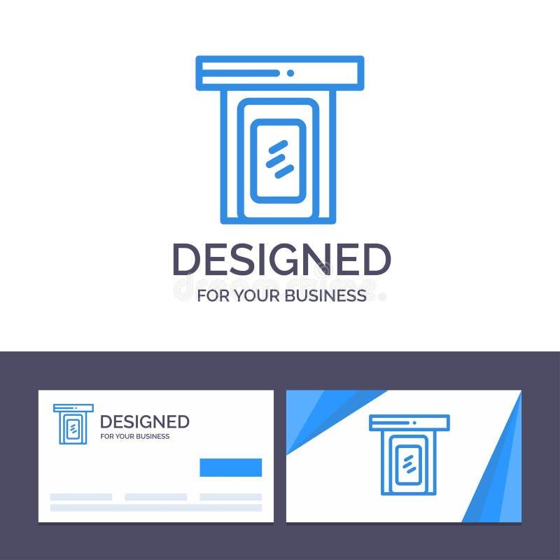 Modello creativo piovoso, nuvola, porta, illustrazione domestica di logo e del biglietto da visita di vettore illustrazione vettoriale