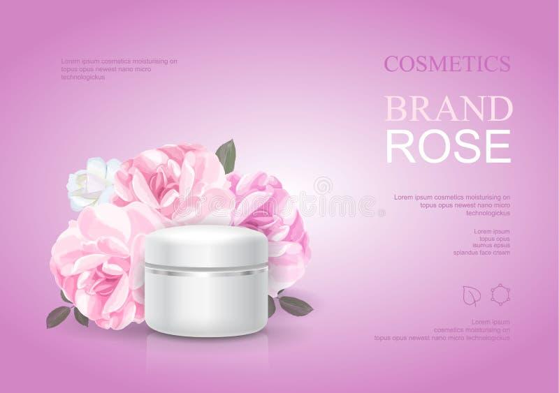 Modello crema d'idratazione di Rosa, annunci di cura di pelle Illustrazione cosmetica di vettore del manifesto del prodotto di be illustrazione di stock