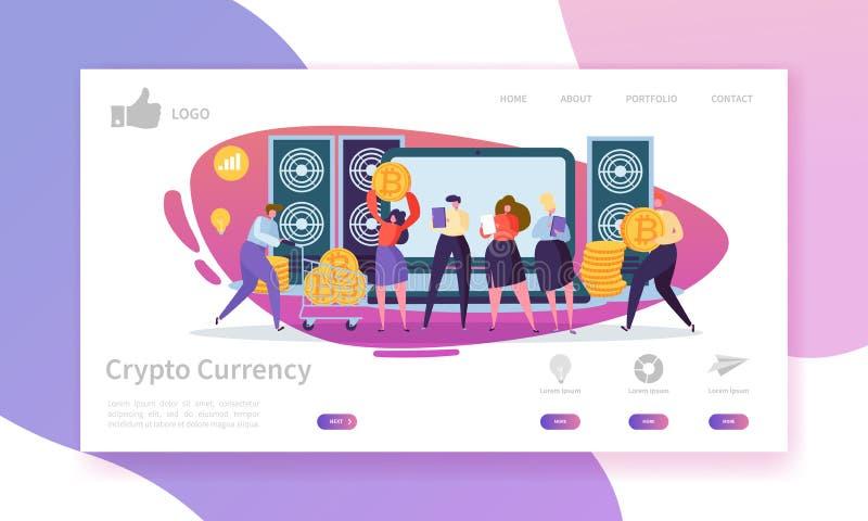 Modello cripto della pagina di atterraggio di cambio Disposizione del sito Web di Bitcoin con i caratteri piani della gente Facil royalty illustrazione gratis
