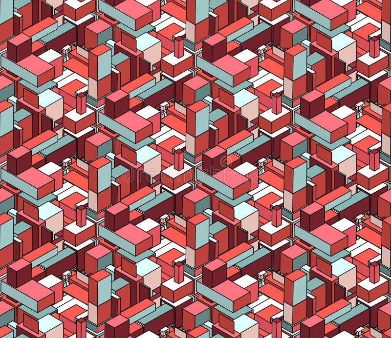 Modello cubico della composizione nella città dei blocchetti isometrici senza cuciture di vettore nel rosa ed in blu illustrazione vettoriale