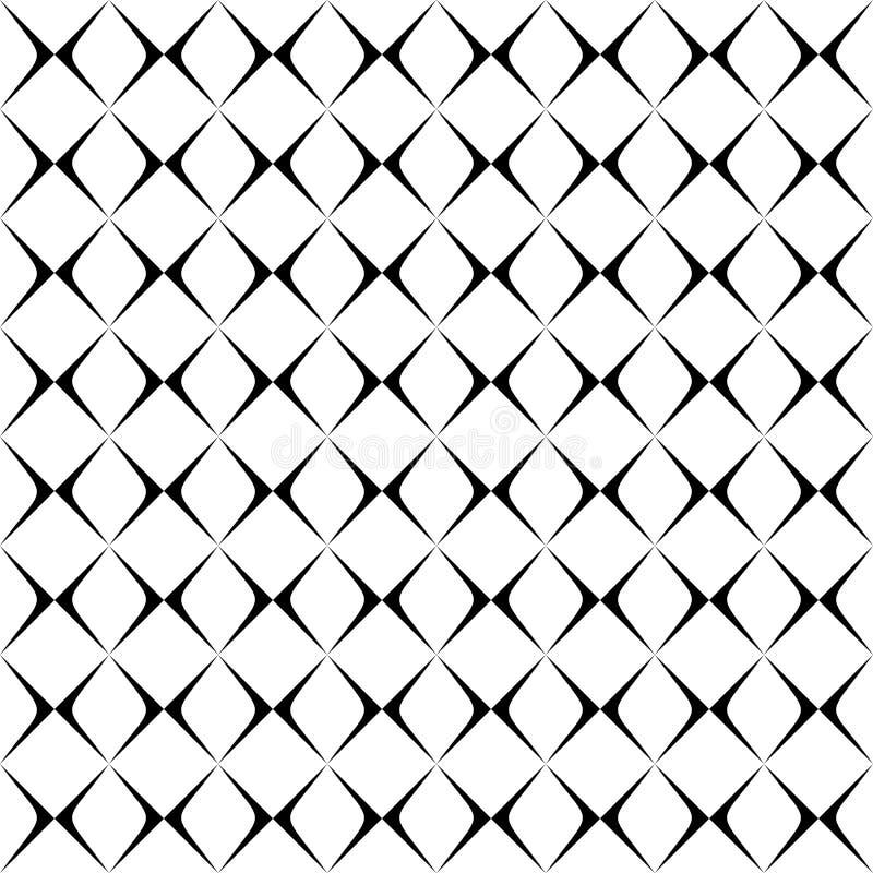Modello curvo senza cuciture in bianco e nero illustrazione di stock