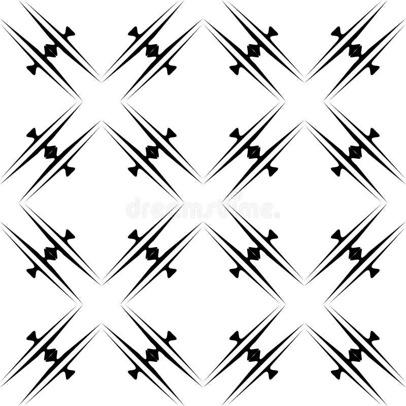 Modello curvo senza cuciture in bianco e nero illustrazione vettoriale