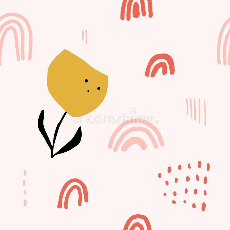 Modello d'annata astratto moderno sveglio nello stile scandinavo Carta da parati pastello della scuola materna con le forme sempl illustrazione vettoriale