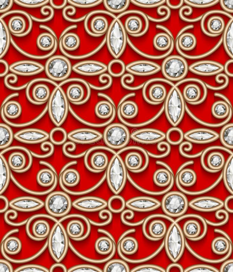 Modello d'annata del diamante dell'oro su rosso royalty illustrazione gratis