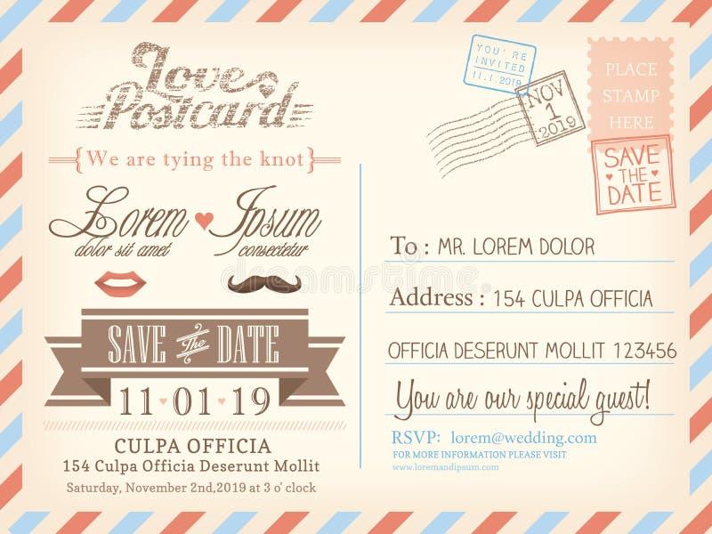 Modello d'annata del fondo della cartolina di posta aerea per l'invito di nozze illustrazione di stock