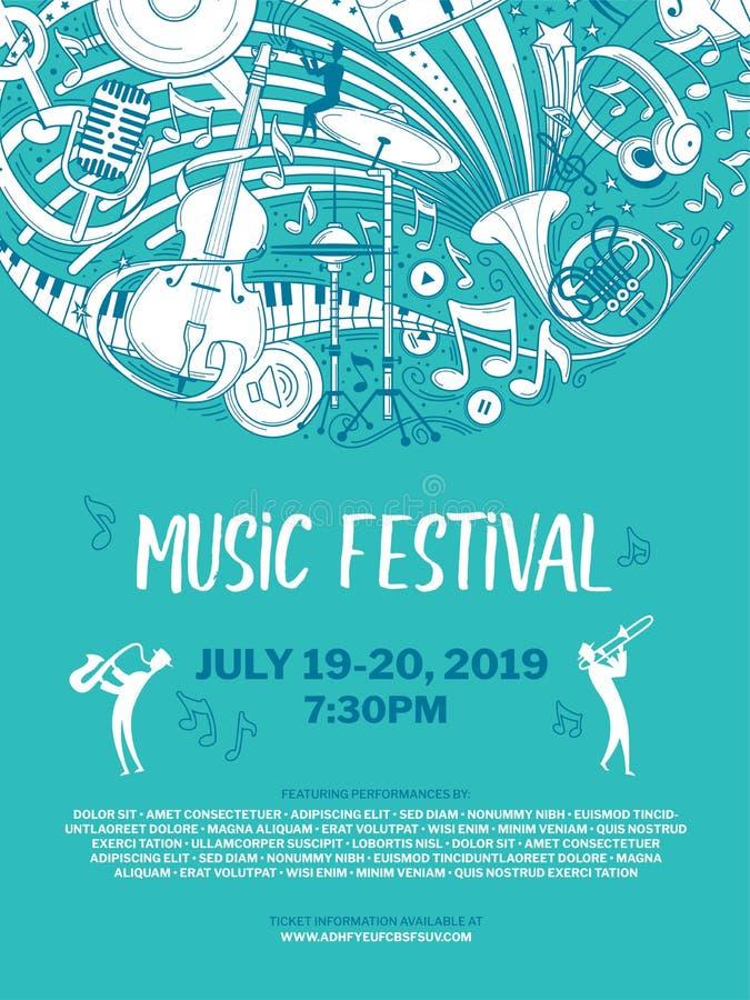 Modello d'annata del manifesto di vettore di festival di musica illustrazione di stock