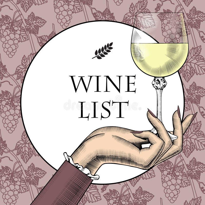 Modello d'annata del menu con la mano del ` s delle donne che tiene un vetro di vino e illustrazione vettoriale