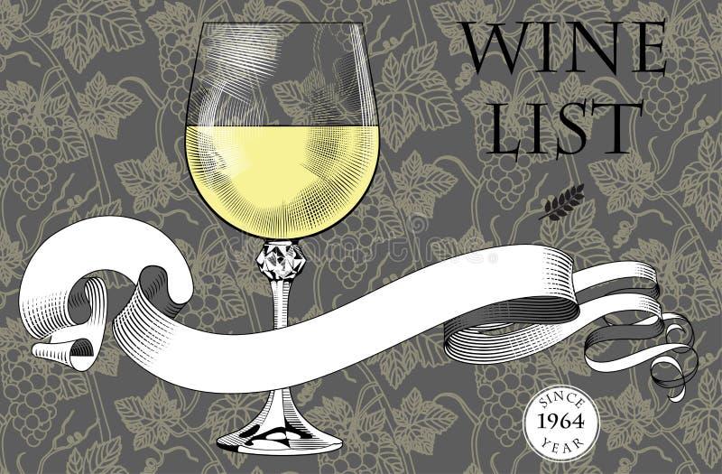 Modello d'annata del menu con un vetro di vino, un nastro e un backg dell'uva illustrazione di stock