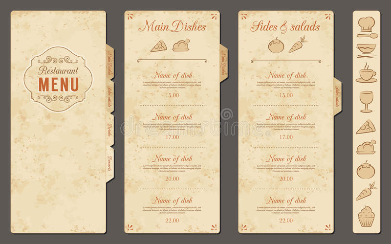 Modello d'annata del menu del ristorante di vettore illustrazione vettoriale