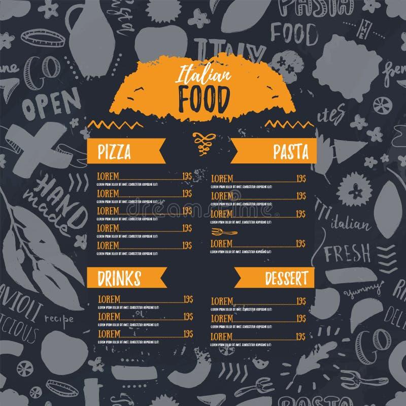 Modello d'annata del menu per progettazione dell'opuscolo Cena italiana deliziosa del ristorante Modello del fondo dell'alimento  illustrazione di stock