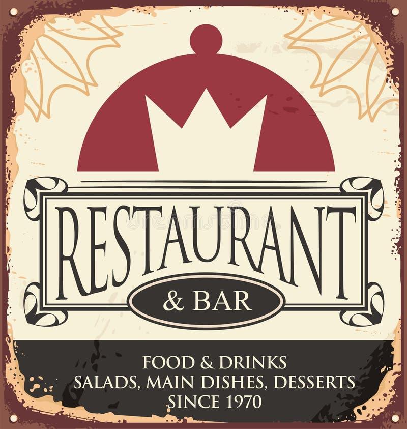 Modello d'annata del segno del ristorante royalty illustrazione gratis