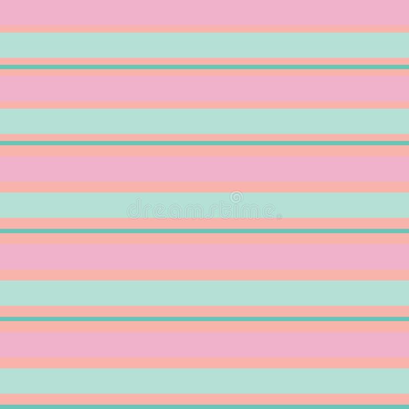 Modello d'annata della banda senza cuciture con le bande colorate di parallelo di orizzontale nel fondo verde ed arancio di rosa, illustrazione vettoriale