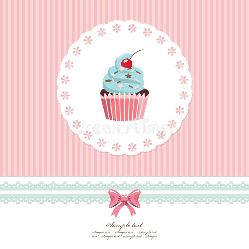 Modello d'annata della cartolina d'auguri con il bigné royalty illustrazione gratis