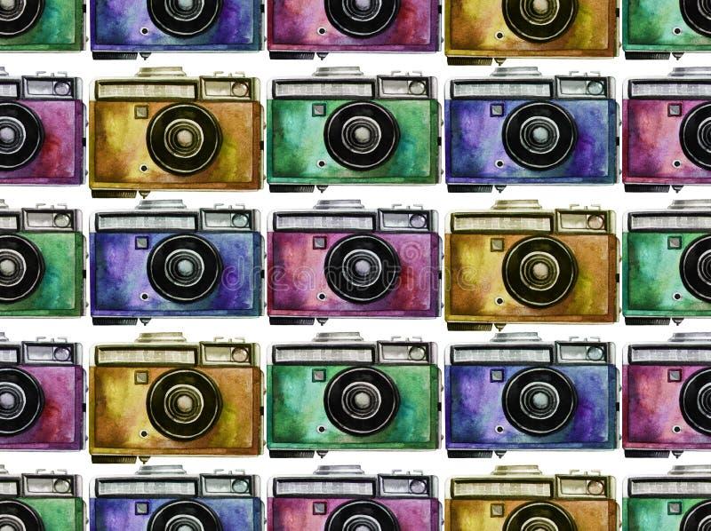 Modello d'annata della macchina fotografica dell'acquerello fotografia stock