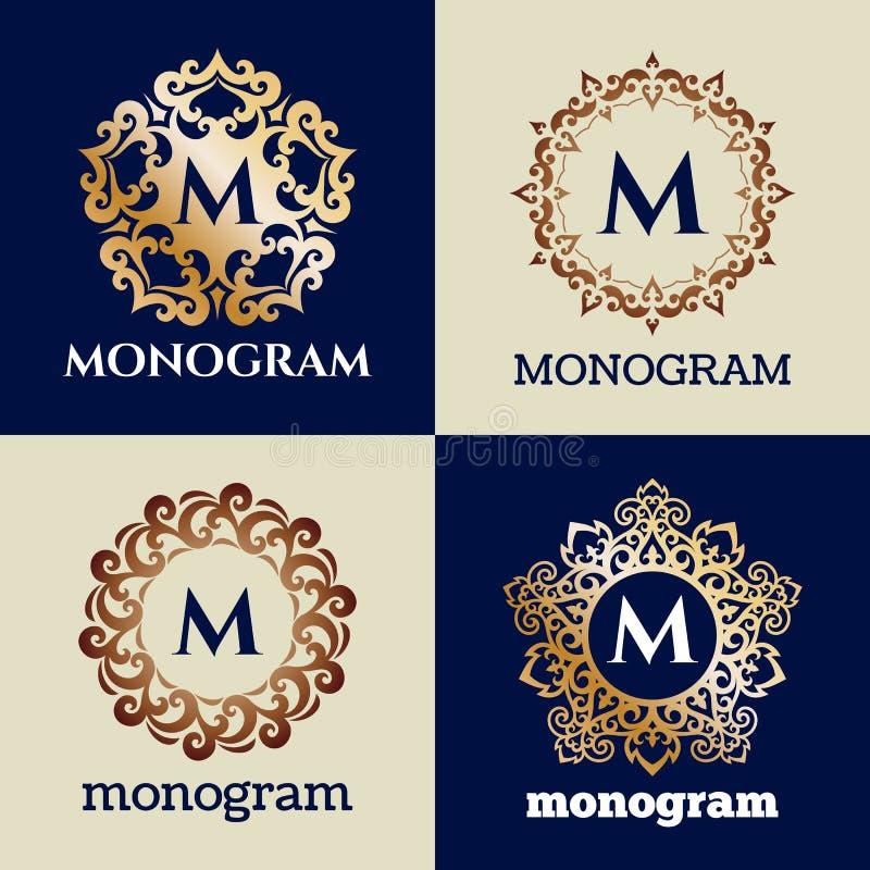 Modello d'annata della struttura del monogramma illustrazione di stock