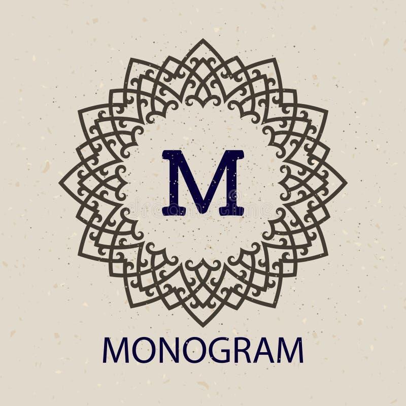 Modello d'annata della struttura del monogramma royalty illustrazione gratis