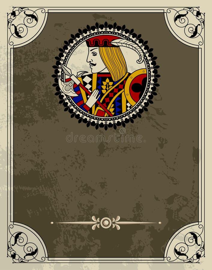 Modello d'annata di progettazione con il carattere delle carte da gioco illustrazione vettoriale