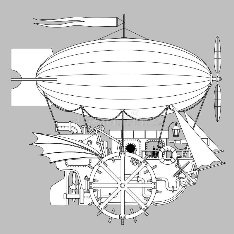 Modello d'annata di Steampunk con una nave fantastica complessa di volo illustrazione vettoriale