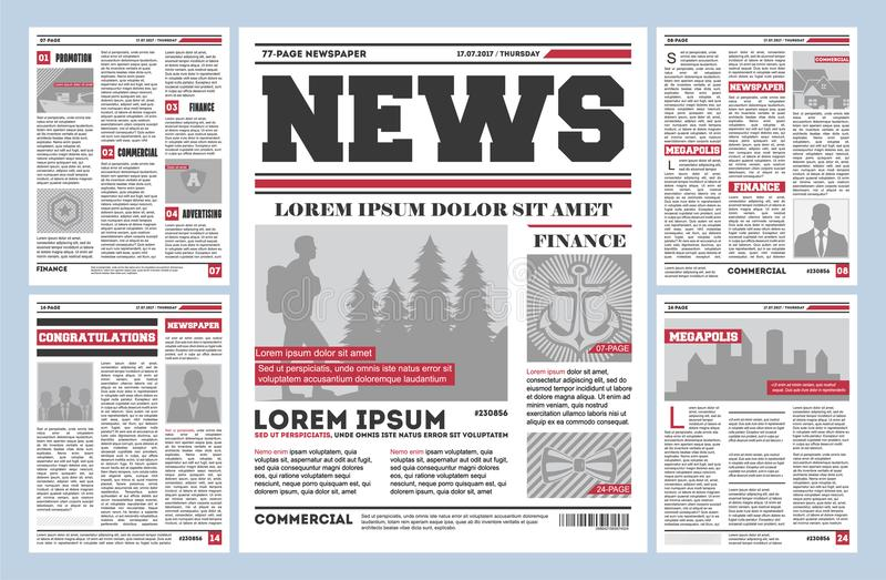 Modello d'annata di vettore del giornale del giornale illustrazione di stock