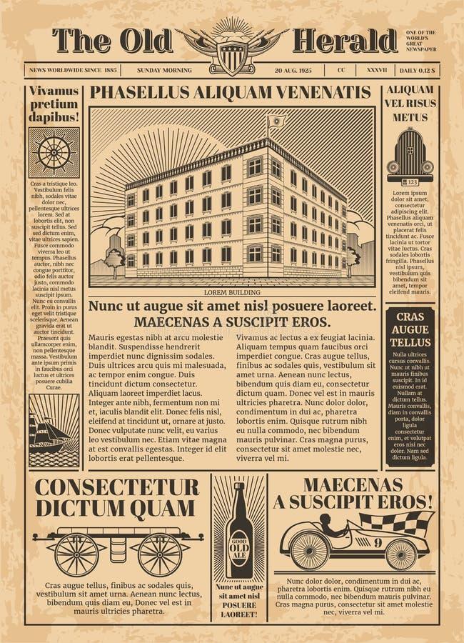 Modello d'annata di vettore del giornale con il testo della carta da giornale royalty illustrazione gratis